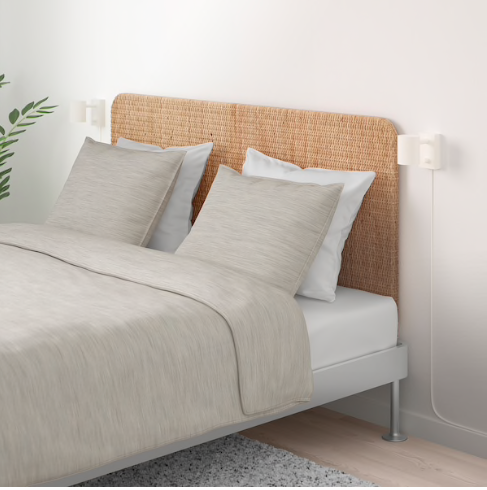 Mediterranean decor: Delaktig bedframe with rattan headboard Ikea