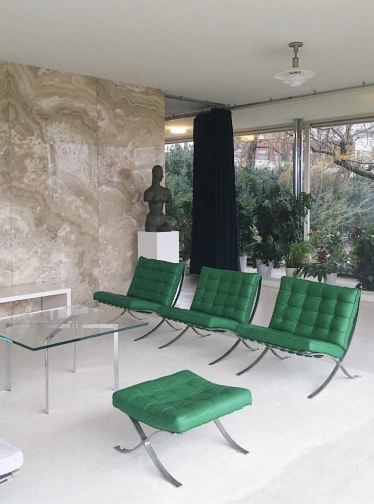Villa Tugendhat interior with Barcelona chairs by Ludwig Mies van Der Rohe