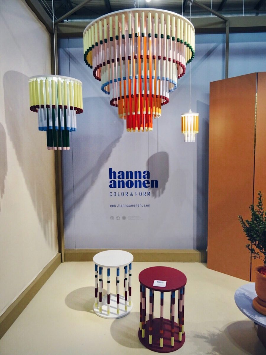 Hanna Anonen Cocktail ceiling lamp and Merry-go-round tables