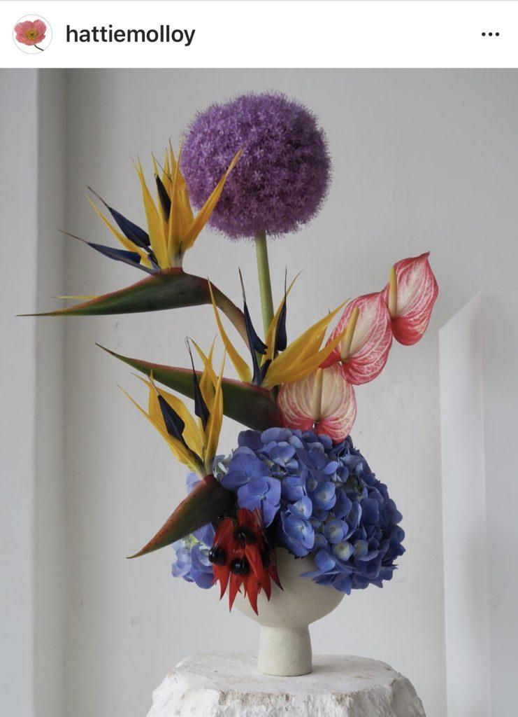 Hattie Malloy flower arrangement Instagram