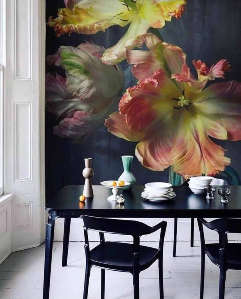Modern dining room with a floral wall mural